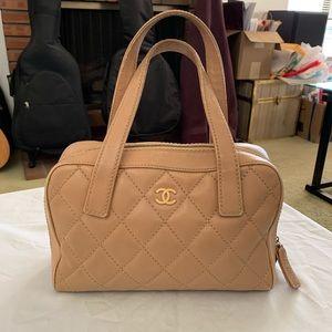 CHANEL Calfskin Wild Stitch Top Handle Bag
